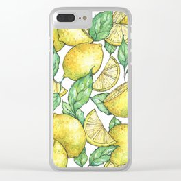Watercolor Lemon Pattern Clear iPhone Case
