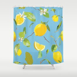 Watercolor Lemon & Leaves 10 Shower Curtain