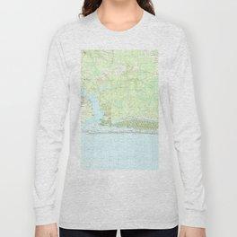 Oak Island North Carolina Map (1990) Long Sleeve T-shirt