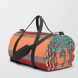 Abstract Waves - Peach and Aqua Duffle Bag