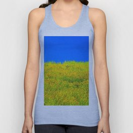 yellow poppy flower field with green leaf and clear blue sky Unisex Tank Top