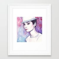 audrey hepburn Framed Art Prints featuring Audrey Hepburn by Olechka