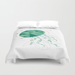 Low Poly Jellyfish White Duvet Cover