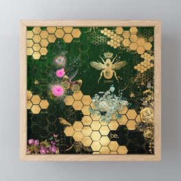 French chic, victorian,bee,floral,gold foil, belle epoque,art nouveau, green foil, elegant chic coll Framed Mini Art Print
