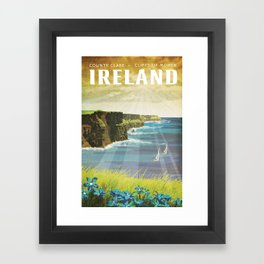 Ireland, Cliffs of Moher - Vintage Style Travel Poster Framed Art Print
