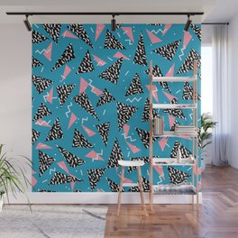 80s Abstract memphis pattern trendy modern pattern print pink black and blue Wall Mural