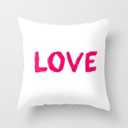 Love Pink Typography Throw Pillow