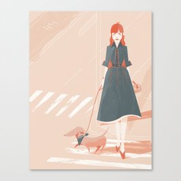 Girl Walking Canvas Print