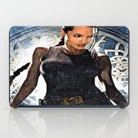 lara croft iPad Cases featuring Angelina Jolie as Lara Croft by Brian Raggatt