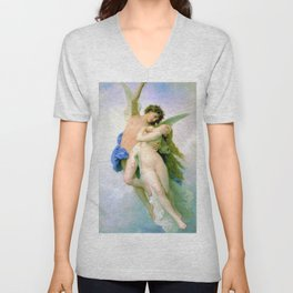 Psyche and Amour 1889 by William-Adolphe Bouguereau Unisex V-Neck