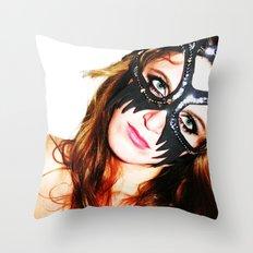 Kat mask Throw Pillow