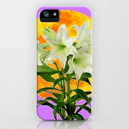EASTER LILIES ON LILAC GOLDEN MOON iPhone Case