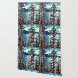Crater Lake Vintage Summer Wallpaper