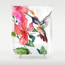Hummingbird and Hibiscus, tropical Hibiscus design Shower Curtain