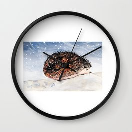 Hedgehog Facing Blizzard Wall Clock