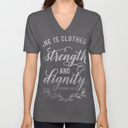 She Is Clothed In Strength Christian Religious Blessings Unisex V-Neck