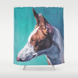 Ibizan Hound dog art portrait from an original painting by L.A.Shepard Shower Curtain