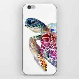 Sea Turtle, swimming turtle art, purple blue design animal art iPhone Skin