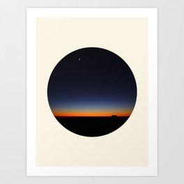 Orange & Blue Sunset Over The Australian Outback Round Photo Art Print