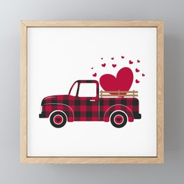 Valentines  retro truck. Red buffalo plaid pattern Framed Mini Art Print