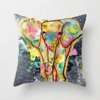 ellie goulding Throw Pillows featuring Ellie by SannArt