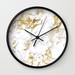 24-Karat Gold Dust And Chic White Marble Design Wall Clock