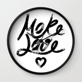 More Love. Hand drawn lettering Wall Clock