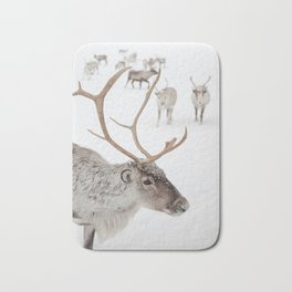 Reindeer With Antlers Art Print | Tromsø Norway Snow Photo | Travel Photography Bath Mat