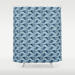 Soft Feather Stripes Japanese Seamless Vector Pattern Shower Curtain