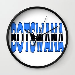 Botswana Font with Batswana Flag Wall Clock
