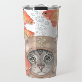 Scuba Cat Among the Fishes Travel Mug