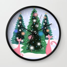 Pink And Perfect Kitty Cats In The Sparkling Snow Wall Clock