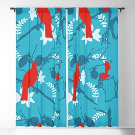 NZ Native Red Kereru (Wood Pigeon) and Fantail on Blue Blackout Curtain