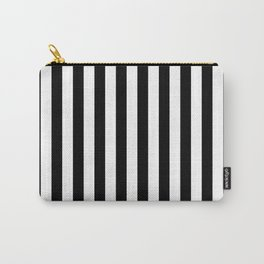 Abstract Black and White Vertical Stripe Lines 12 Carry-All Pouch