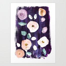Vintage Poppies Deep Twilight Art Print