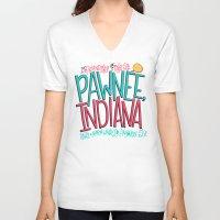 indiana V-neck T-shirts featuring Pawnee, Indiana by Chelsea Herrick