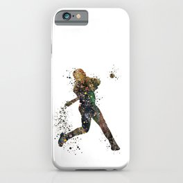 Baseball Player Boy Colorful Softball Watercolor Silhouette iPhone Case