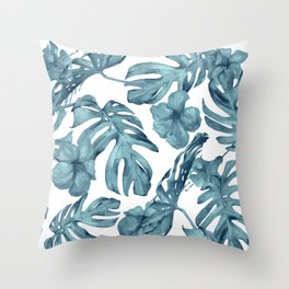 Teal Blue Tropical Palm Leaves Flowers Throw Pillow