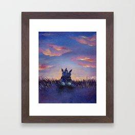 Snuggle Bunnies at Sunset Framed Art Print