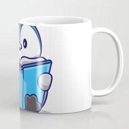Cute Penguin Writing Book Icon Illustration Animal Icon Concept Isolated Flat Cartoon Style Coffee Mug