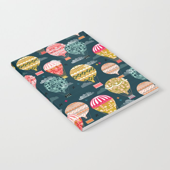 Hot Air Balloons - Retro, Vintage-inspired Print and Pattern by Andrea Lauren Notebook