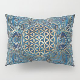 Flower of Life in Lotus Mandala - Blue Marble and Gold Pillow Sham