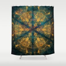 Tribal mandala in blue and gold Shower Curtain