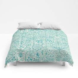 Detailed Floral Pattern in Teal and Cream Comforters