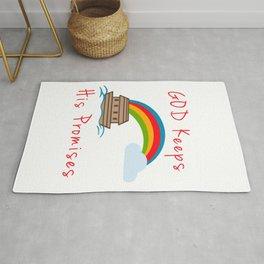 Cute Noahs Ark God Keeps His Promises Rainbow Rug