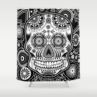 sugar skull Shower Curtains featuring sugar skull by Ancello