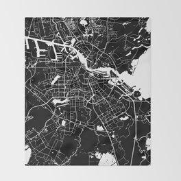 Amsterdam Black on White Street Map Throw Blanket