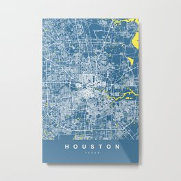 HOUSTON Map Texas | Blue & Yellow | More Colors, Review My Collections Metal Print