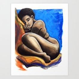 TK Curled Up Art Print