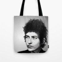 bob dylan Tote Bags featuring Bob Dylan by Studio Caro △